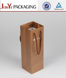 Rope strung deep wine bottle packaging printed kraft brown paper bag