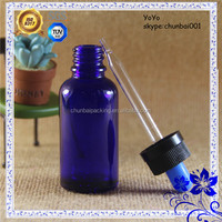 30 ml blue glass dropper bottle for e-cigarette smoke oil manufacturer colorful top