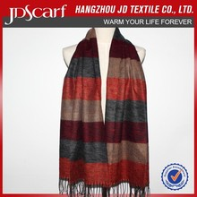 Fishion woven and new design thick and stripe brushed scarf