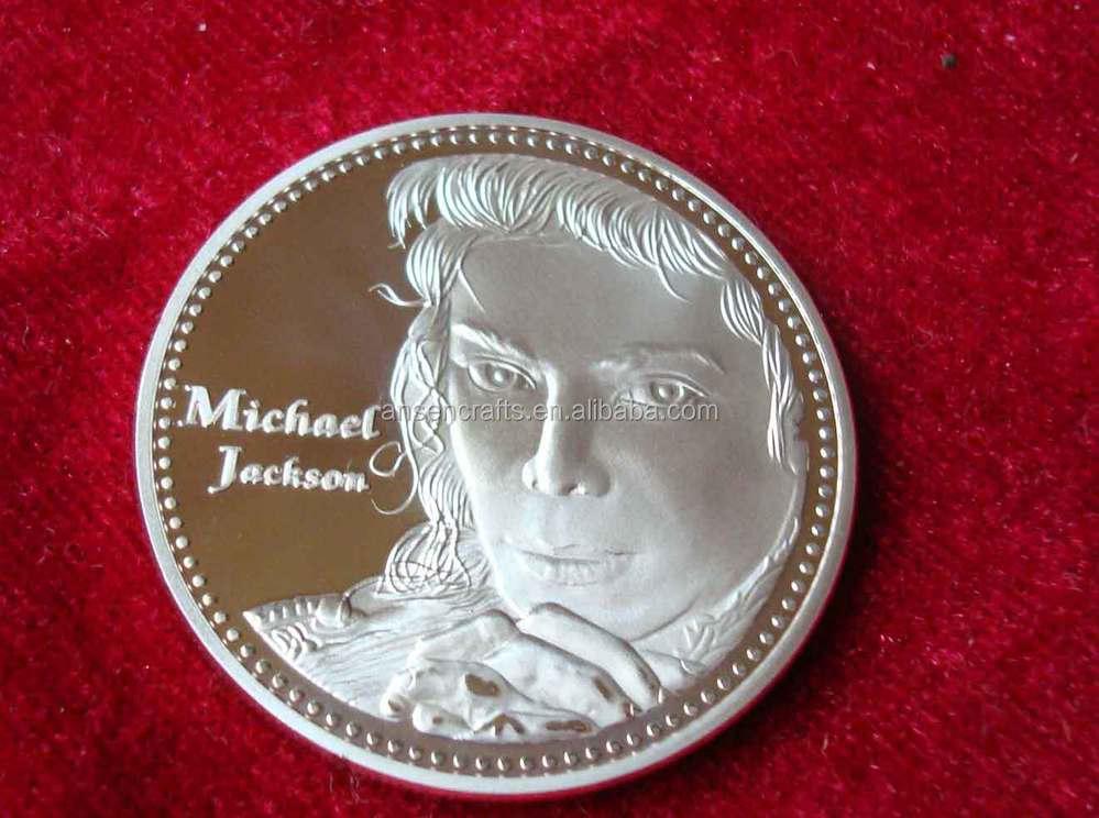 hot vendas de costume de michael jackson prateado moeda para lembrança