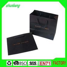 2015 black brand Luxury laminated manila carrier paper hand bag