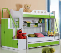 2015 double bedroom set cheap kids bed with green 8209