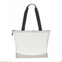 Cream - Eco Friendly Zipped College School Beach Bag Shopping Tote Shoulder Bag