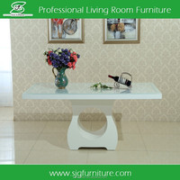 Hopcom Lacquer 6 seater Dining Table with White Carved