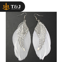 2015 fashion high quality Alloy Angel Wing Feather Chandelier Drop Long Earrings
