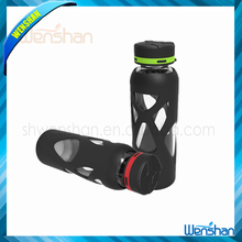 WSP-1 2016 wholesale hot sport cover glass bottle silicone 100% BPA free