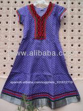hermosas damas kurti de algodón impresos kurtas señoras largo bordado tunicsgreen túnicas vintage vestido anarkali