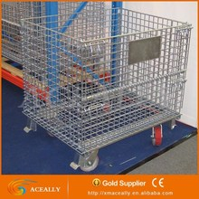 stainless steel rolling metal storage cage with castors