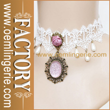 Vintage Lolita Pearl and White Lace Pendant Necklace