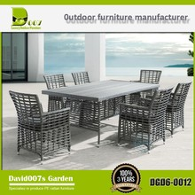 Modern outdoor rattan furniture dining table set