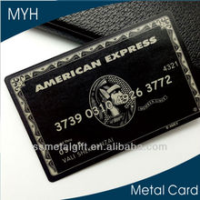 Luxious American express black card matt black finish with magnetic stripe/signatuer panel/QR rode metal cards