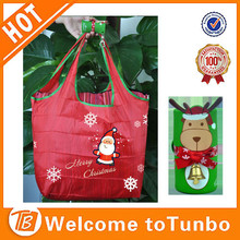 New 2015 red santa promotion Xmas shopping bag foldable polyester bag
