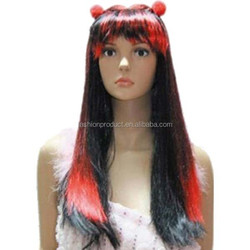 long straight red with black color halloween party wig