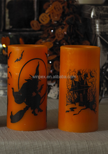 """Halloween Decorative Orange Wax Yellow Flickering Flameless LED 3""""x6""""Pillar Candle w/ Black""""WITCH""""""""HAUNTED HOUSE""""Pattern Printed"""