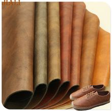 Wholesale double color embossed material pu shoes face leather