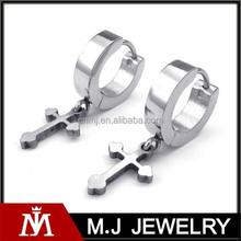 wholesales stainless steel jewelry cross silver huggie earrings unisex