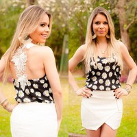 embroidery designs chiffon tank top black dot sexy crop top wholesale clothing ZC1815