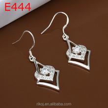 2015 European Design 925 sterling silver Crystal Paved Fish Hook Earrings