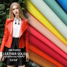2016 fashion pu leather for garment clothing bags coat sofa solid Synthetic Leather print viscose pu leather fabric