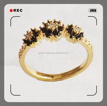 2015 fashion design zircon copper brass alloy plating gold true love waits ring
