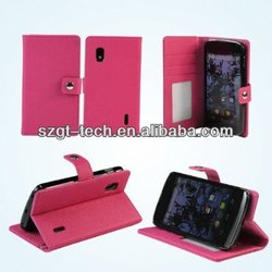 For LG E960 Nexus 4 Leather Case, PU Mobile Phone Leather Case For LG Nexus 4