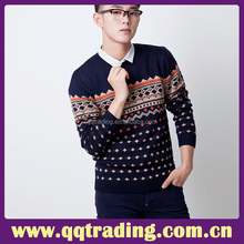 Fashion Custom Style Round Neck Leisure Jacquard Weave Wool Men Sweater Knitwear Designs