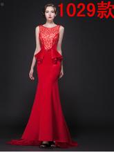 2015 spring fashion dress backless red fishtail mermaid evening dress wedding dress