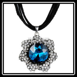 Europe and America Fashion Black Chain Vintage Artificial Blue Gem Stone Pendant Necklace Women Long Necklace Fashion Jewelry