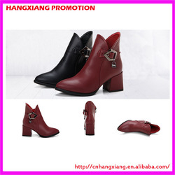 China Low MOQ Boots Fashion Square Heel Boot Shoes Lady Genuine Leather Ankle Boots With Zipper