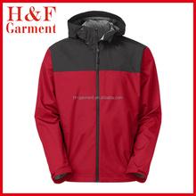 Mens hooded nylon windbreaker jacket in maroon and black