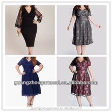 vestido de encaje de la, sexy fat vestido de cóctel de encaje, a la moda tamaño grande lace dress para mujeres gordas