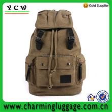 New Men Women Vintage Canvas Leather Shoulder Laptop Travel Backpack