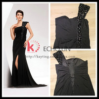One Shoulder Design High Thigh Slit Evening Dress Black Formal Evening Dress Long Black Evening Dress