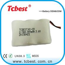 High Quality 2 3 AA 300mah 1.2V NI-CD Rechargeable Battery