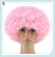 Cheap Light Pink Synthetic Short Afro Curly Football Fan Wigs HPC-1950