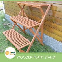 Flower Wooden Golden Red Plant Stand