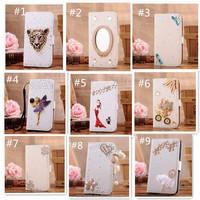Muticolors 3D bling bling wallet Leather Flip case for iphone 4 case with crystal