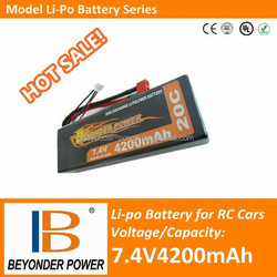 RC car 7.4V rechargeable battery, 7.4V4200mAh polymer battery with high discharge rate