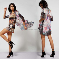 OEM fashion design printing see-through beach sexy lady sleveeless dress with blouse
