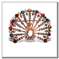 High-grade Champagne Gold Plated Multicolor Austria Crystal Peacock Brooches Jewelry, Fashion Shawl Brooches, Women's Brooches