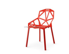 cheap plastic mesh office chair /out door dining chair with square round steel aluminum legs