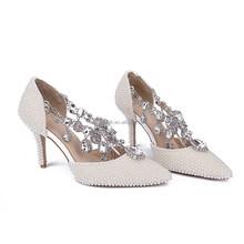 pearl upper wedding high heel shoes rehinestone heels hand beaded shoes custom made pumps Luxury diamond wedding dress shoes