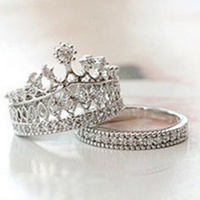 The new European and American fashion crown simple party wild sweet piece diamond crown moldings Crown Ring