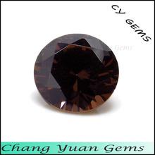 3.50mm Round shape brown color artificial zircon