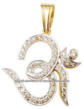 Tasarımcı serme elmas kolye, Hint etnik kolye takı manufacturar, altın elmas om kolye takı