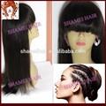 2015 nuevo diseño de la tapa de seda recta sedosa de alta calidad virgen india pelucas de pelo natural negro para las mujeres