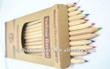 hexagonal natural wooden color pencils set 12colors packed into pencil paper box