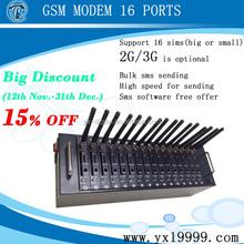 Big promotion !!!!16 port multi sim bulk sms gsm modem 3g support open at command/imei change