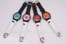 Footable Face Kids Leather Round Cartoon Watches Men Mixed Style