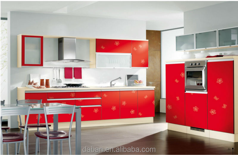 High gloss red kitchen cabinet designs for small kitchens for Kitchen designs high gloss